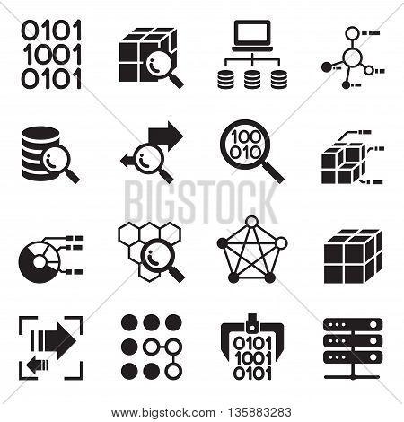 Data mining Technology Data Transfer Data warehouse analysis idea concept icon set