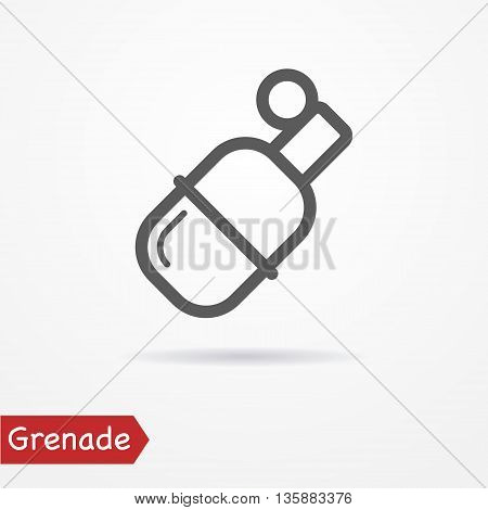Abstract grenade in line style. Typical simplistic grenade. Isolated grenade icon with shadow. Grenade vector stock image.