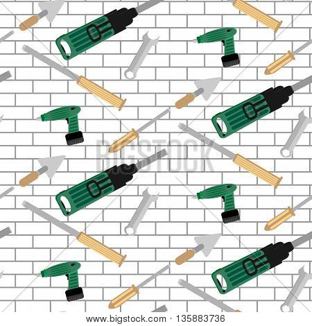 Pattern tools construction on brick wall. Repair work tool illustration screwdrive and punch chisel and trowel vector