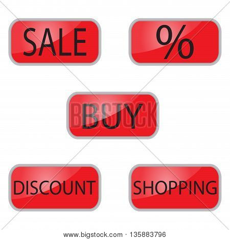 Web red button shooping and online shop. Internet sale and shopping web vector illustration
