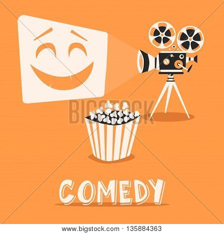 Comedy in the cinema. Happy holidays with popcorn. Laugh, entertainment, fanny film on projector