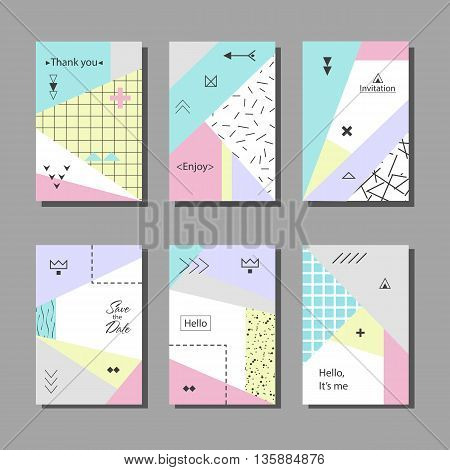 Set of artistic colorful universal cards. Wedding, anniversary, birthday, holiday, party. Design for poster, card, invitation. With golden glitter texture. Memphis style