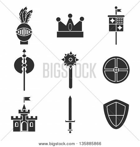 Knight symbols and elements vector set. Medieval kingdom legendary armored knight symbols warrior with lance and knight symbols attributes icons set abstract isolated vector.