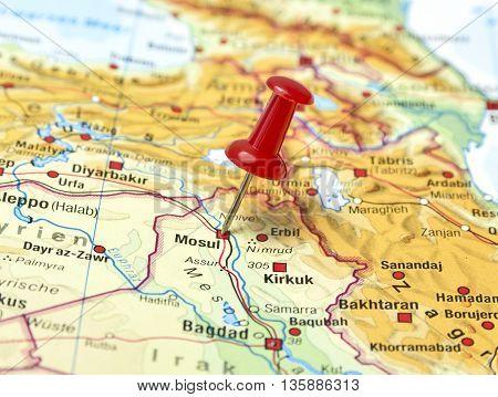 Map with pin set on Mosul, Irak.