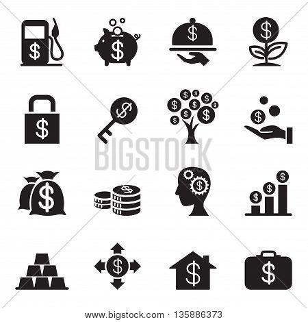 Silhouette Financial Investment icons set Vector illustration Graphic design