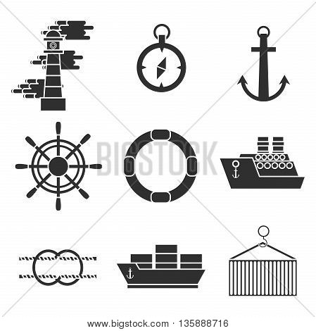Sea port icons set with anchor container ship lifebelt isolated vector illustration