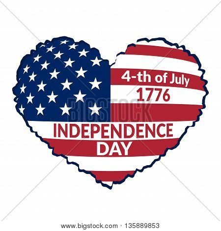 American flag as heart shaped symbol for 4th of July Independence Day celebration. Patriotic love Typography Graphics. Fashion Print for sportswear apparel t shirt card banner. illustration