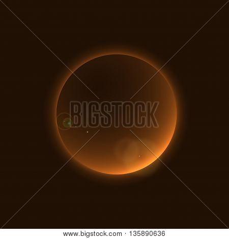 Planet glow sign in cosmic space galaxy. Abstract shine moon icon isolated on black background. Light star night. Symbol of science universe astronomy and world cosmos eclipse. Vector illustration