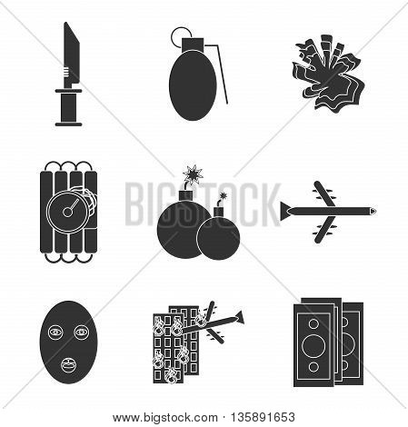 Terrorism icons set with different type of terror crimes symbols isolated vector illustration.