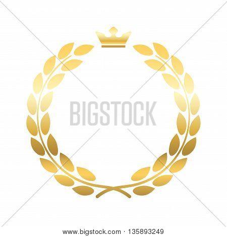 Gold laurel wreath, with crown. Golden leaf emblem. Vintage design, isolated on white background. Decoration for insignia, banner award. Symbol of triumph, sport victory, trophy. Vector illustration.
