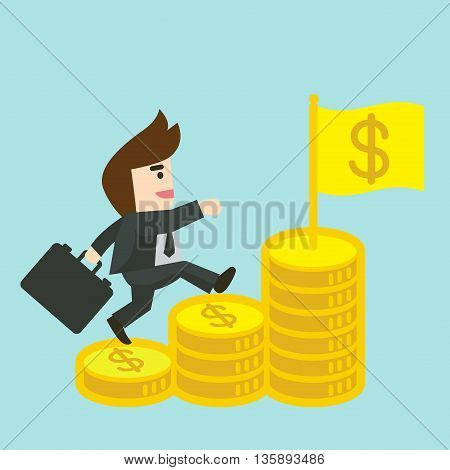Businessman is walking up the stair of money towards a successful. Business concept cartoon illustration