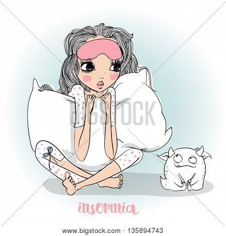 cute cartoon girl in pajamas with pillow