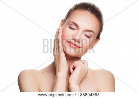 Spa Woman Touching her Hand to her Skin. Woman Isolated on White. Healthy Face Clear Skin. Skincare Concept