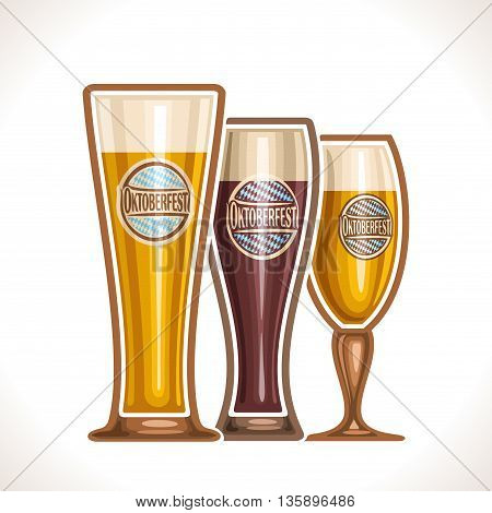 Vector logo glass cups of beer, consisting of cups,with light and dark porter, lager and pilsner beer. On glass pint with alcohol drink label oktoberfest on background of emblem fest white blue rhombus