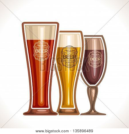 Vector logo for glass cups of beer, consisting of cups, filled to the brim light and dark porter, lager and pilsner beer on a white background. On glass pint with alcohol drink label: Premium quality
