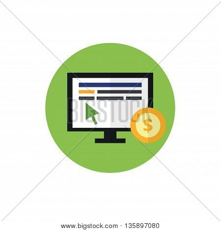 PPC flat vector icon. Pay per click and internet advertising concept. The mouse on the monitor and coin. For website graphics, mobile apps, web page layout design.
