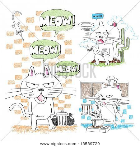 Adorable hand-drawn cat poster