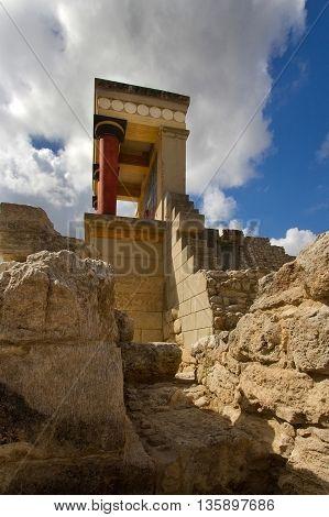 Red column Knossos palace. Greece. Crete Island