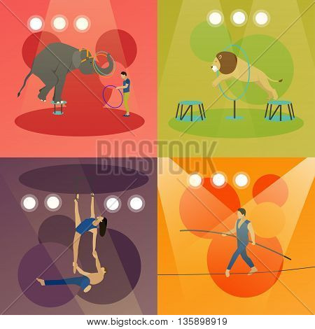 Vector set of circus concept banners. Acrobats and artists perform show in arena. Animals show and performance.