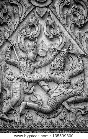 A stone carving from a buddhist temple situated in the city of Phetchaburi in Thailand.