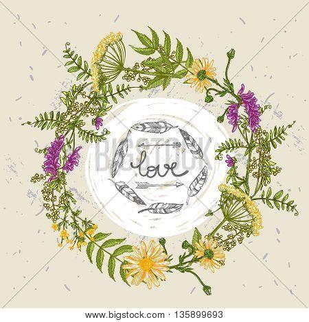 Beautiful hand drawn illustration boho flowers. Flowers for boho-style  wedding invitations, boho prints. Decorative floral illustration with wildflowers.