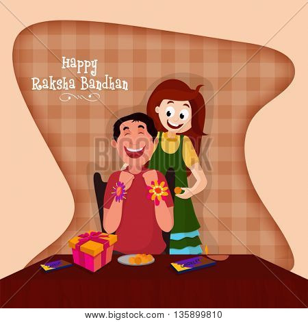 Cute Brother and Sister enjoying after celebrating Raksha Bandhan Festival, Beautiful Greeting Card design for Indian Festival celebration concept.