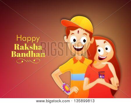 Happy Brother and Sister enjoying and celebrating Rakhi Festival on glossy background, Elegant Greeting Card design for Happy Raksha Bandhan Festival celebration.