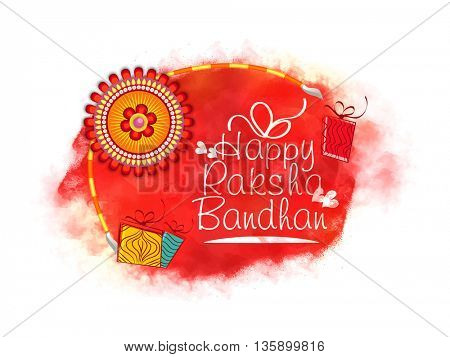 Beautiful Rakhi decorated, Elegant Greeting Card design for Indian Traditional Festival of Brothers and Sisters, Happy Raksha Bandhan celebration.