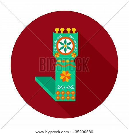 Distaff flat circle icon. Vector illustration of distaff on dark red.