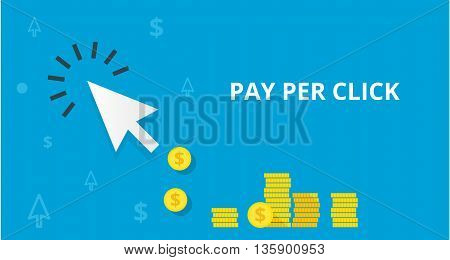 PPC pay per click flat online internet marketing concept web vector illustration. Blue arrow and many coins. Pay per click marketing advertising ppc affiliate program concept.