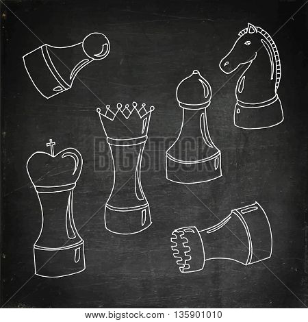 Set of chess. International Chess day. Hand drawn vector stock illustration. Chalk board drawing.