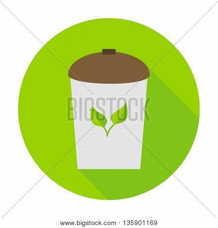 Rubbish bin eco flat circle icon. Vector illustration of rubbish bin on the green.