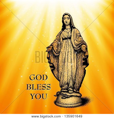 God bless you with Virgin Mary, vector illustration