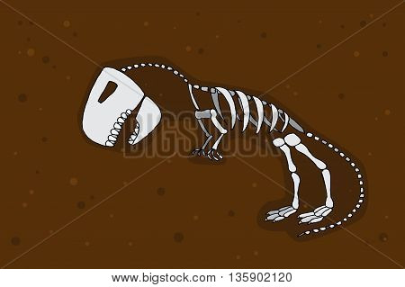 Tyrannosaurus rex fossil. Dinosaurus skeleton bones. Hand drawn vector stock illustration.