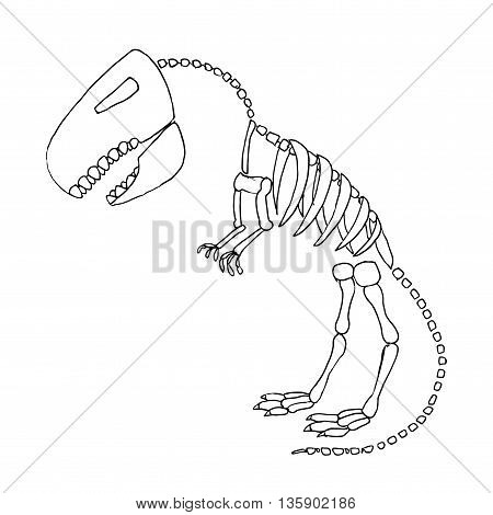 Tyrannosaurus rex fossil. Dinosaurus skeleton bones. Hand drawn vector stock illustration. Black and white whiteboard drawing.