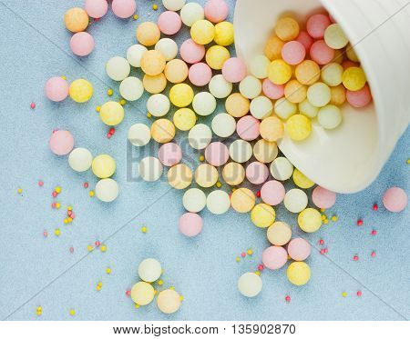 Sweet colorful candy bubble gum beautiful background