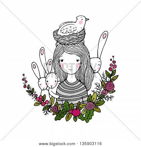 beautiful young girl and birds, nest, birds and flowers. Hand drawn vector illustration.