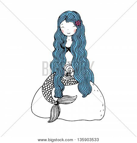 Beautiful little mermaid with shells. Siren. Mythology. Sea theme. Hand drawn vector illustration on a white background.