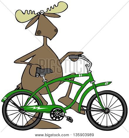 Illustration depicting a bull moose walking beside his green bicycle.