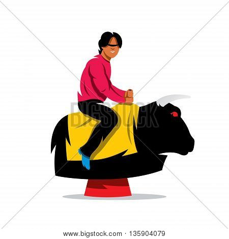 Man on the mechanical bull simulator. Isolated on a white background