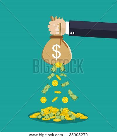 Cartoon businessman hand holding money bag and losing golden coins that poured out from a hole in the bag. vector illustration in flat style on green background