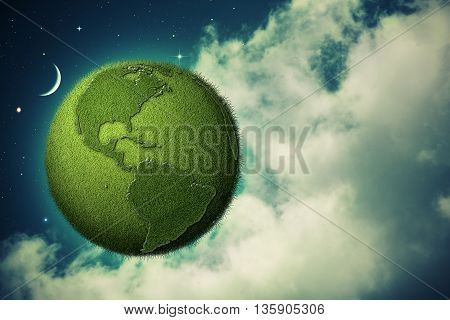 Green Earth flying in the evening skies abstract eco backgrounds