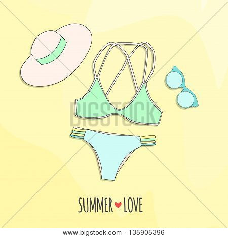 Vector Illustration. The Photo Swimsuit, Hat And Sunglasses On The Sand With An Inscription Summer +