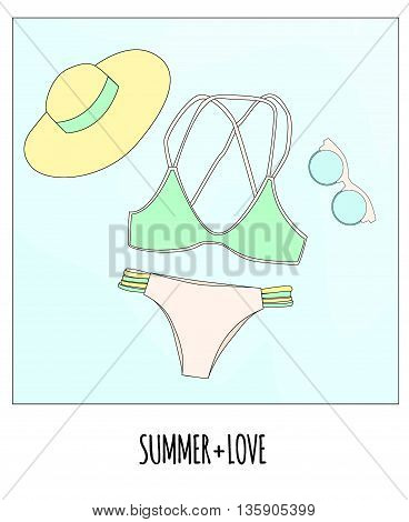Vector Illustration. The Photo Swimsuit, Hat And Sunglasses With An Inscription Summer +  Love