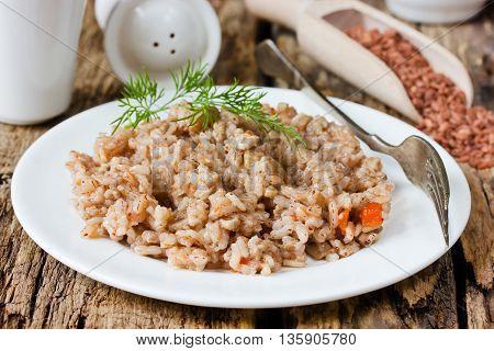 Rice porridge of red rice varieties devzira selective focus