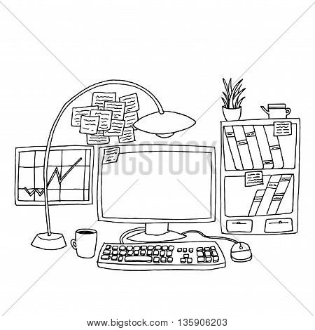 Office table with computer. Hand drawn vector stock illustration. Black and white whiteboard drawing.