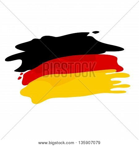 Vector flag of Germany. Flag of Germany in pseudo watercolor style isolated on white background.