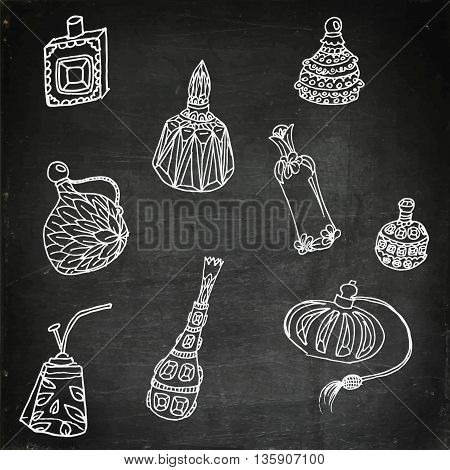 Parfume bottles set. Hand drawn vector stock illustration. Chalk board drawing.
