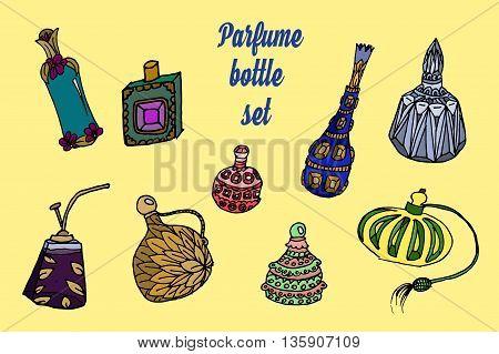Parfume bottles set. Hand drawn vector stock illustration.