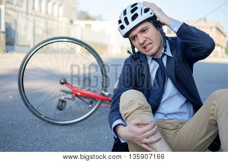 Aching Man After Bicycle Accident
